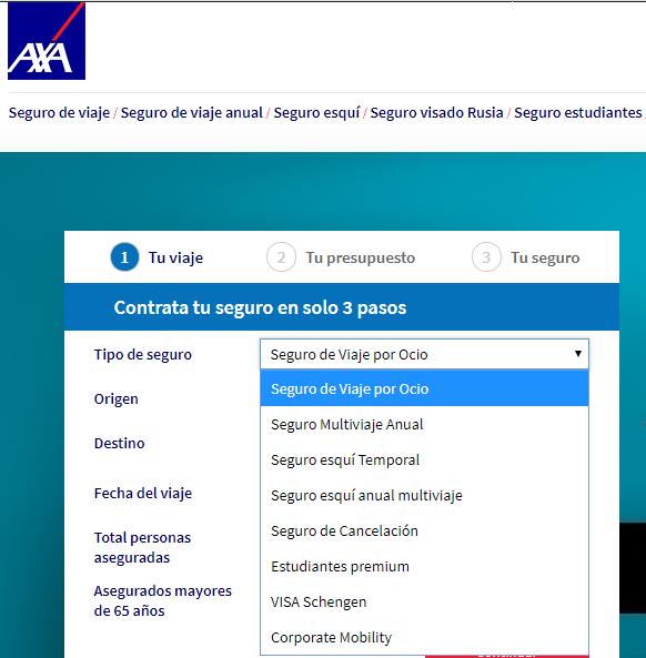 AXA tipos de seguro de viaje