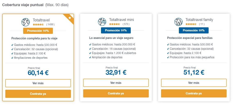 Intermundial opciones seguro de viaje